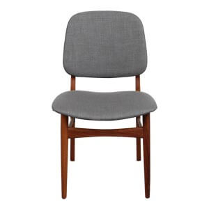 Modern Slant Back Dining Chair with Fabric Upholstery