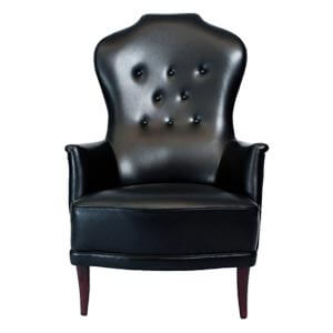 Classy Black Leatherette Hourglass Back Button Tufted Wing Chair