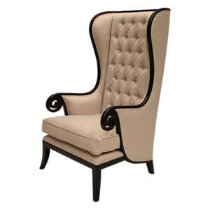 Classic High back Wing Chair with Wood Trim and Serpentine Arms
