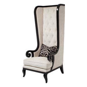 Classic Tall back Wing Chair with Button Tufted Back and Sabre Le...