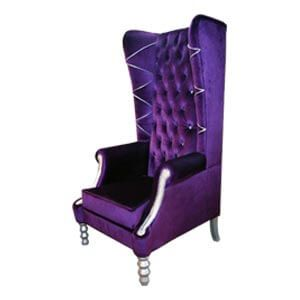 Classic Tall back Wing Chair with Chrome Accents and Orante Legs