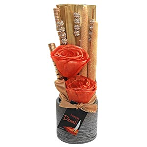 Diwali Deco Orange Floral Showpiece with 2 Flowers and a Golden S...