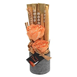 Diwali Deco Pale Orange Floral Showpiece with a Golden Stone and ...