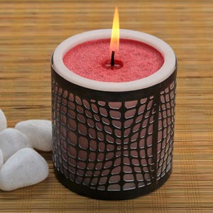 Aromatic Red Scented Candle in Cut Out Metal Holder