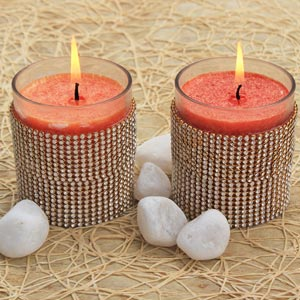 Orange Coloured Scented Candles with Golden Stone Strips