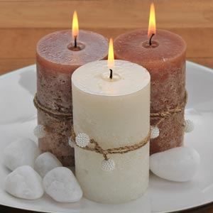 Aromatic Pillar Scented Candle Set of 3 with Pearl Beads