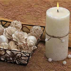 Aromatic Pillar Scented Candle with Pearl Beads