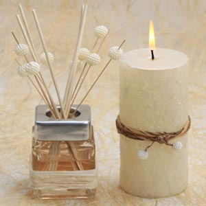 Reed Diffuser and Pillar Candle Sticks with Pearls