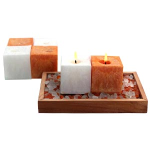 Aroma Pearl Cube Scented Candles With Decor Stones