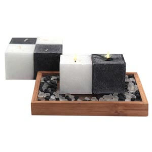 Aroma Pearl Cube Scented Candles with Decorative stones-Black and...