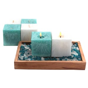 Aroma Pearl Cube Scented Candles with Decorative Stones-Blue and ...