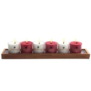 Aroma Candles with a Long Wooden Tray