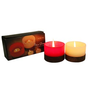 Lantern Candles with Glow Effect-Rose and Champagne