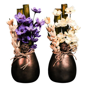 2 Ceramic Pots with Artificial Flowers