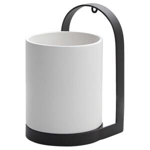Cylindrical Wall Vase with Metal Holder