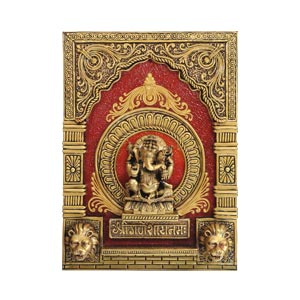 Devotional Narsinha Ganesha Wall Art with Hand carved Arched Fram...