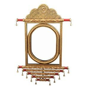 Decorative Wall Mirror with Floral Artwork Beads and Bell Accent
