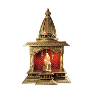 Traditional Golden Sai Baba Wooden Temple with Conical Dome