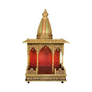 Traditional Wooden Pooja Mandir with Conical Dome featuring Flora...