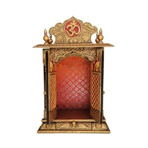 Traditional Closed Door Pooja Mandir with Drawer and Ornate Hand ...