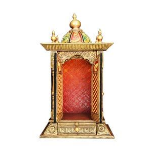Traditional Pooja Mandir with Closed Door and Decorated Dome