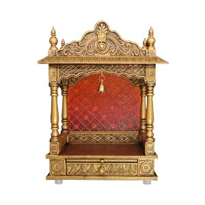 Traditional Handmade Small Pooja Mandir with Ornate Arch Bell