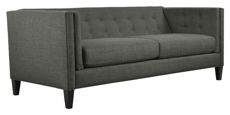 midcentury modern sofa with high back and arms in button tufted style. Black Bedroom Furniture Sets. Home Design Ideas