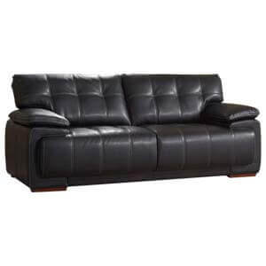 Contemporary 2 Seater Leather Sofa with Straight backs and Top St...