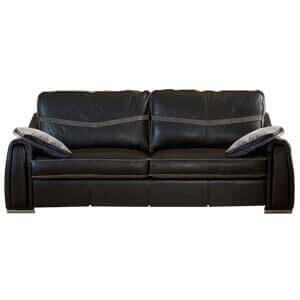 Contemporary 2 Seater Leather Sofa with Track Arms