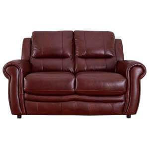 Contemporary 2 Seater Leather Sofa with Rolled Paneled Arms
