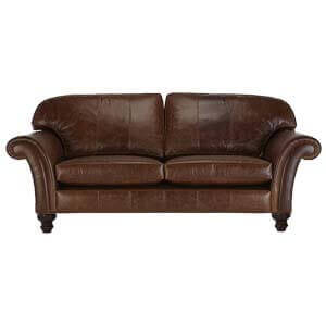 Classic 2 Seater Leather Sofa with Panel Arms and Ornate Legs