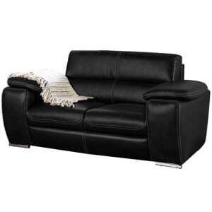 Modern 2 Seater Leatherette Loveseat with Deep Stitch Details
