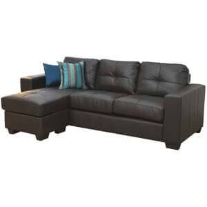 Contemporary 3 Seater Sectional Leatherette Sofa with Tufted Back...