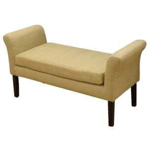 Modern Fabric Upholstered Sofa Bench with Straight Wooden Legs