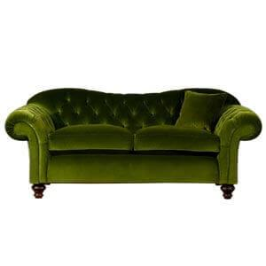 Classic Fabric 2 seater Chesterfield Sofa with Straight Back - Gr...