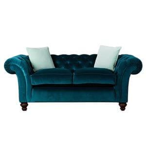 Classic Fabric 2 Seater Chesterfield Sofa with Down Cushions and ...