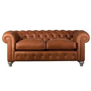 Classic Leatherette 2 Seater Chesterfield Sofa with Down Cushions...