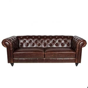 Classic Leatherette 2 Seater Chesterfield Sofa with Nail Head Tri...