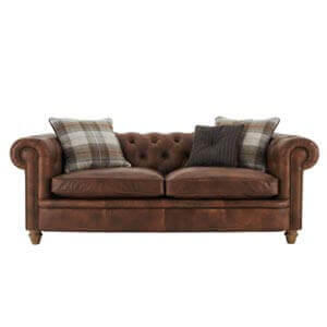Classic Leatherette 2 Seater Chesterfield Sofa with Cozy Plush Cu...