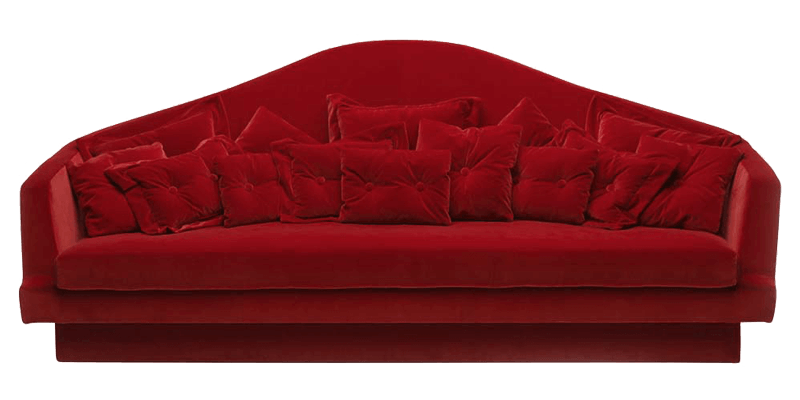 Transitional Sofa With Curved High Back