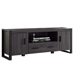 Contemporary Entertainment Unit with Central Drawer and Two Metal...
