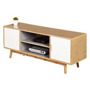 Modern Entertainment Unit with Thick Laminated Top and Round Coni...