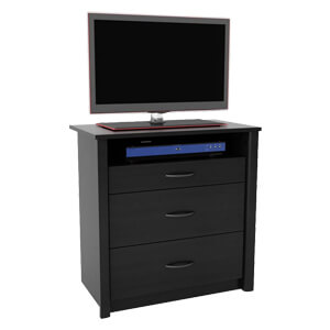 Modern Dressser with a Wide Open Unit and Broad Drawers