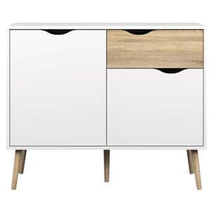 Contemporary Storage Sideboard with 2 Cabinets Having Cut outs