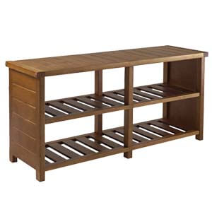 Transitional Style Shoe Rack with 2 Slatted Shelves