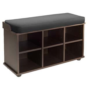 Transitional Style Shoe Rack in Bench Style with Cubbies