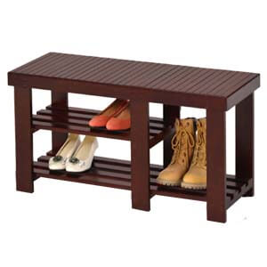 Transitional Style Shoe Rack with Open Slatted Shelves