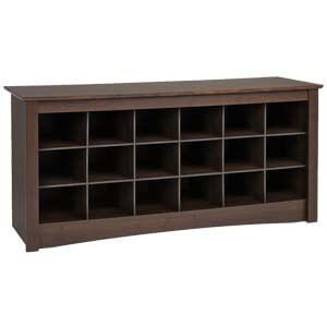 Transitional Style Shoe Rack with Laminated Bench Seat