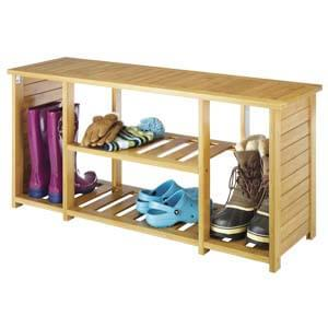 Transitional Style Wide Shoe Rack with Slatted Details