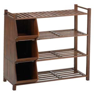 Transitional Styled Shoe Rack with 3 Cubbies